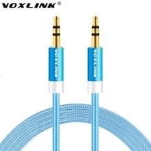 Voxlink 1 м/2 м/3 м/5 м Aux кабель 3.5 мм до 3.5 мм Jack аудио кабель Нитки bradied мужчинами стерео вспомогательный шнур для автомобиля iPhone 6