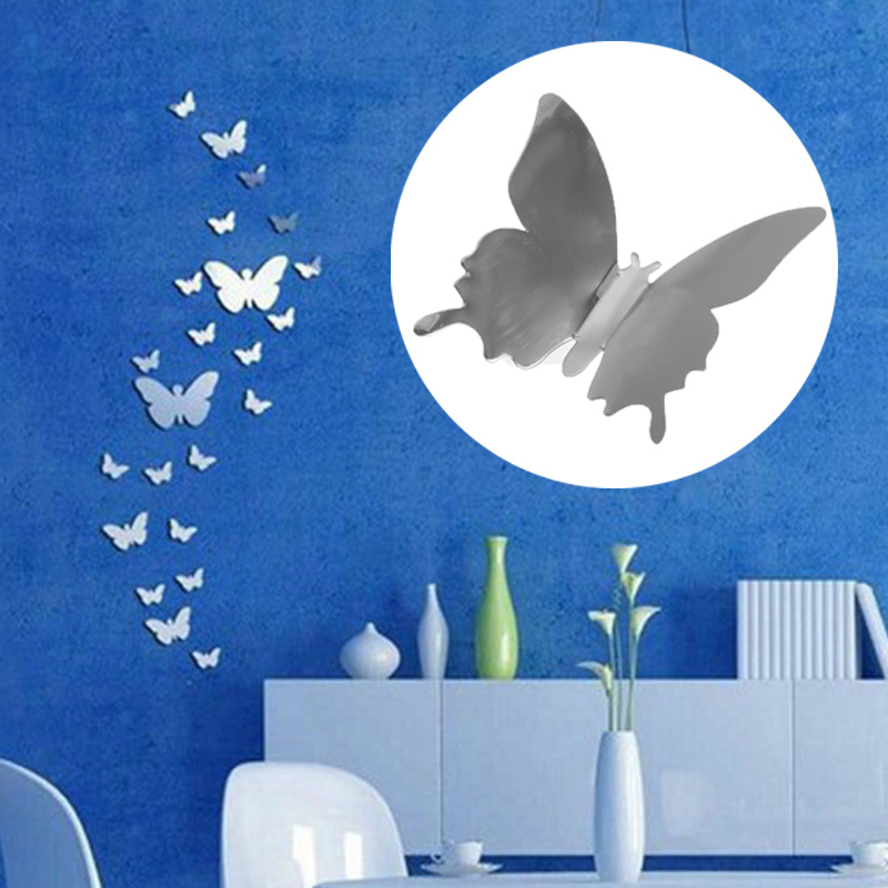 12pcs 3D Mirrors Butterfly Wall Stickers Decal Wall Art Removable Room  Party Wedding Decor Home Deco Wall Sticker for Kids Room 3