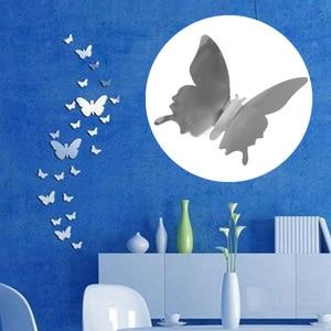 Image 4 - 12 個 3D ミラー蝶のウォールステッカーデカール壁アートリムーバブルルームパーティー結婚式の装飾ホームデコ用子供ルーム