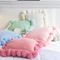 Pompom Knitted Cushion Cover Tassel Fur Ball Pillow Covers For Sofa Home Decorative Throw Pillow Case Pink Valentines's Day Gift