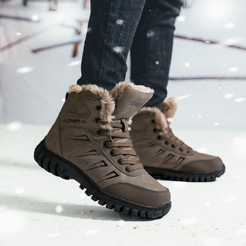 Winter Hiking shoes for male Tactical boots Outdoor Waterproof Leather Wear-resistant Plush Climb Trekking Warm Snow Boots men men winter boots plush warm hiking boots outdoor tactical trekking shoes men genuine leather waterproof ankle boots men sneakers