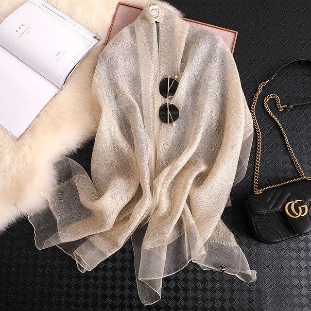Fular de seda para mujer, Fular liso femenino, Pashmina, chal y envoltura, talla grande, toalla de playa, hiyab musulmán, 2020