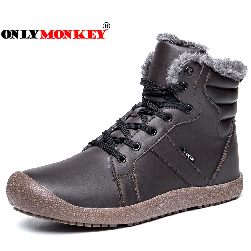ONLYMONKEY Large Size 36 48 Men Hiking Shoes Winter Plush