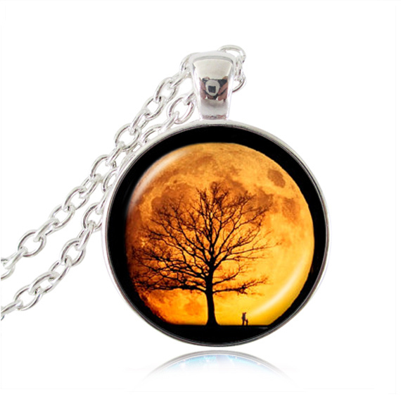 Tree of life necklace moon jewelry orange full moon pendant wisdom tree Jewelry glass cabochon planet universe pendants