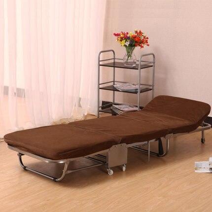 Ланч-брейк, складная односпальная кровать для офиса, трехслойная губчатая складная кровать для отдыха, Простая кровать для ухода - Цвет: khaki