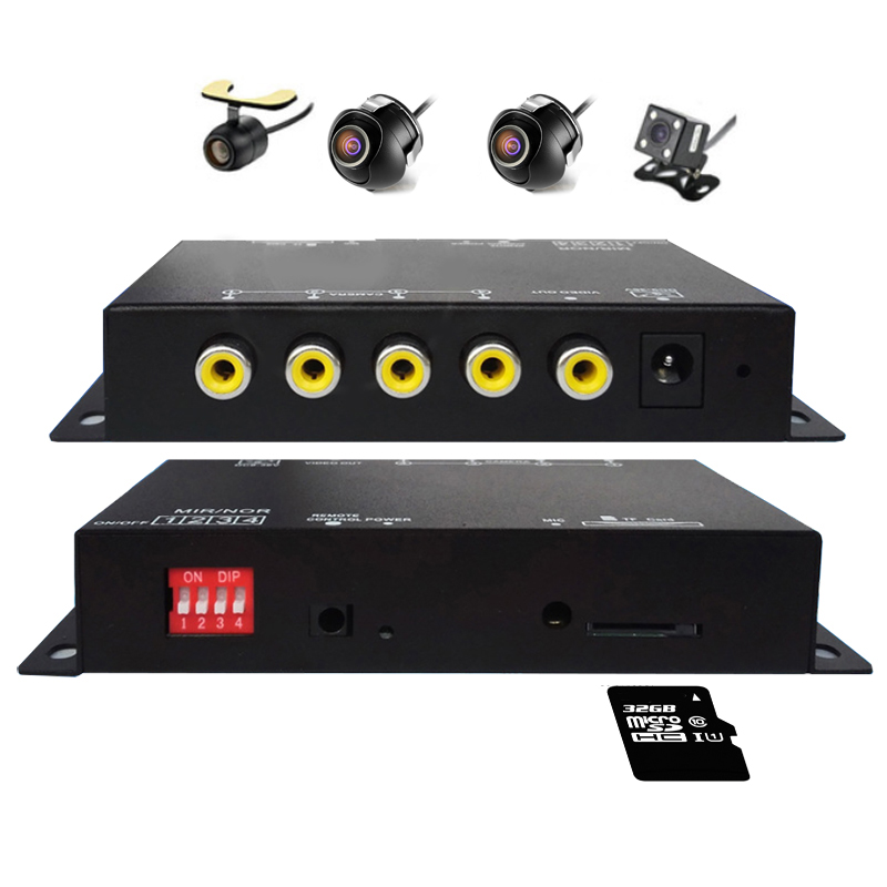multipath Panoramic driving recorder DVR Monitoring Traffic Record four video view recorder for rear front side