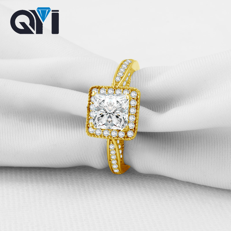 QYI Rings Women Gift 10k Solid Yellow Gold Wedding Princess Cut Simulated Diamond Women For Fine Jewelry Support Customization