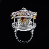 ZOZIRI female personality exaggerated Carousel Ring Fashion HF jewelry cubic zircon women's a merry go round ring wedding gift