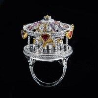 Zoziri женский личности преувеличены карусель кольцо Модные HF украшений фианит женщин Карусель кольцо свадебный подарок