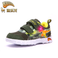 DINOSKULLS Kids Boys shoes Luminous Dinosaur Sneakers Tennis Glowing Led Cartoon Breathable Mesh Children's Sport Shoes 27# 34#