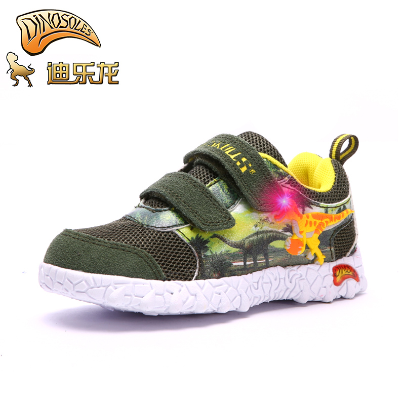 DINOSKULLS Kids Boys shoes Dinosaur Children's Tennis Glowing Sneakers Led Light Autumn Net Breathable Mesh Sport Shoes Cartoon