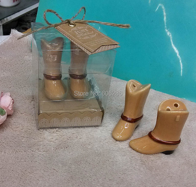 New!!100pcs(50sets) LOT Just Hitched Ceramic Cowboy Boot Salt and Pepper  Shaker for Wedding small Gifts for guest 722d1616471f