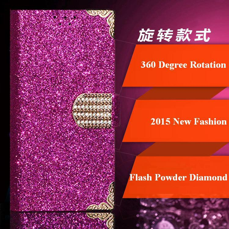 360 Degree Rotation Wiko Cink King Case, 2015 Top Fashion Universal Flash Powder Diamond Cases for Wiko Cink King