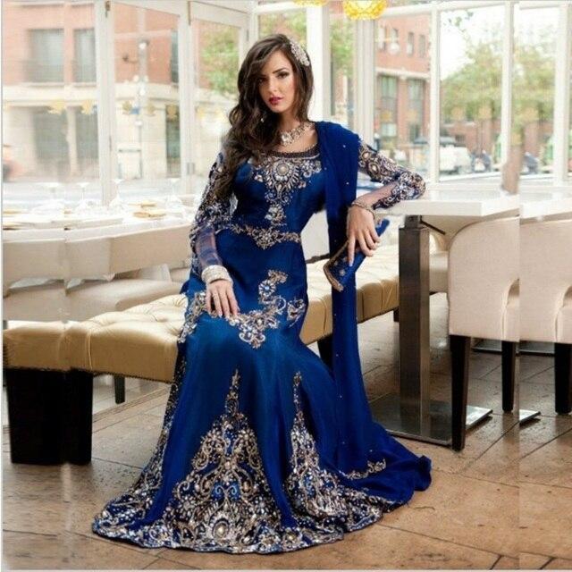Bleu Royal Perlé Musulman de Soirée Robe Manches Longues Caftan Marocain  Robe Sirène de Soirée Robe