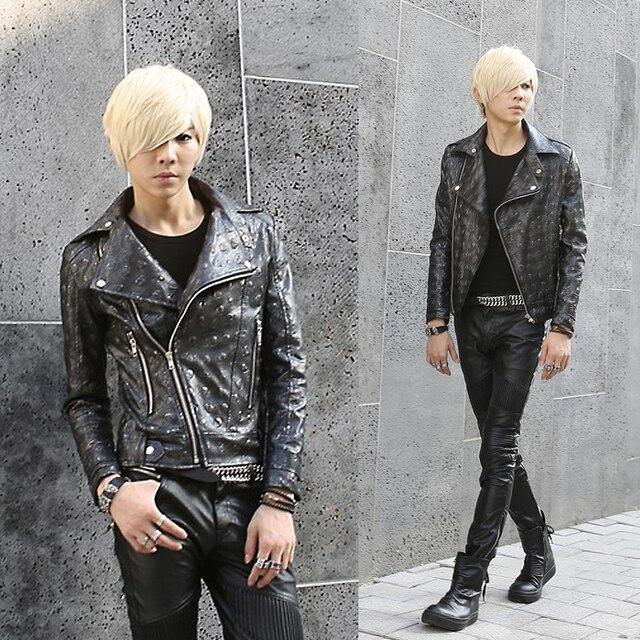 Панк кожаная куртка 2016 мужской череп верхняя одежда тонкий костюм одежда мужская мотоцикл кожа пальто Из Кожи и Замши
