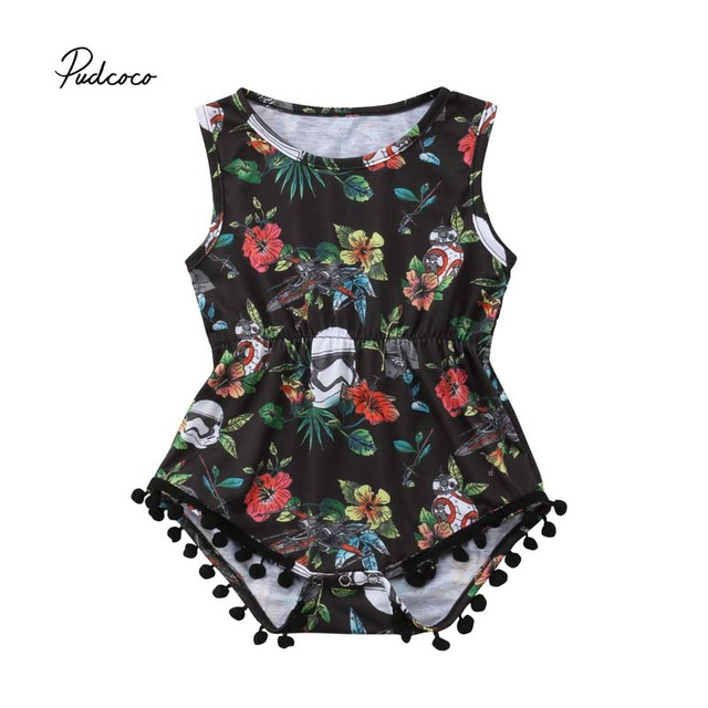 077609498a8 Pudcoco 2018 Newborn Baby Girl Bodysuit Star War Floral Lace Ball Tassels Bodysuit  Jumpsuit Summer Outfit Sunsuit Clothes 0-24M