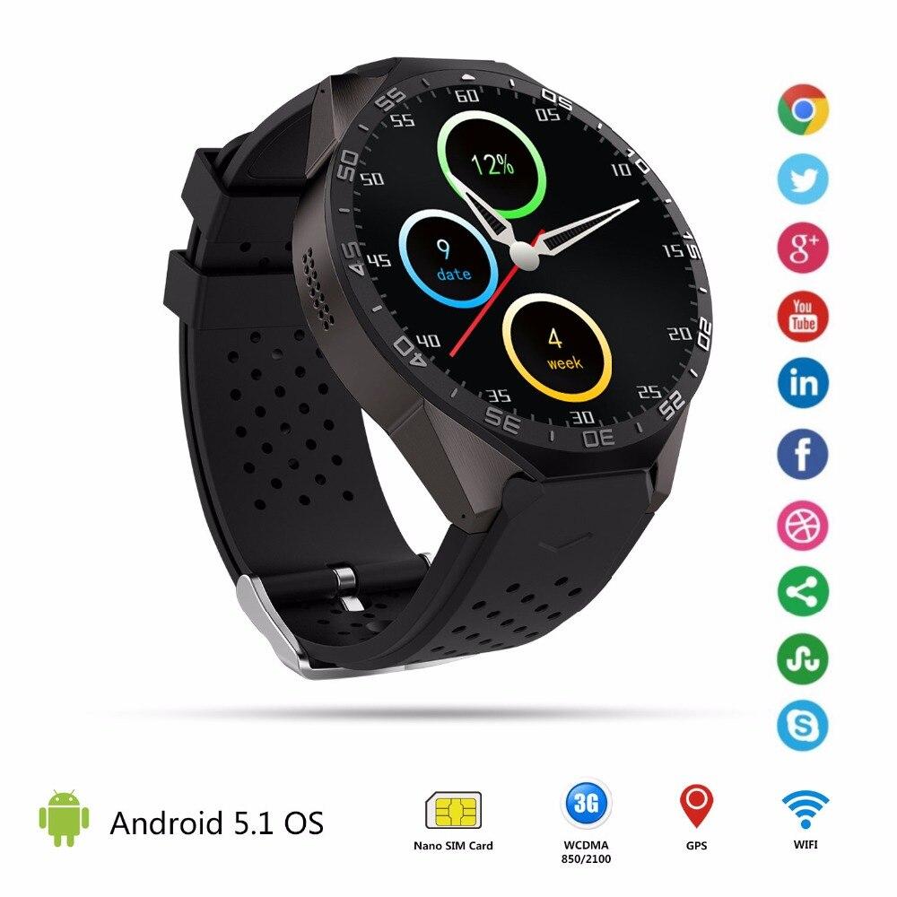 KW88 Smart Watch Phone Android 5.1 Quad Core MTK6580 512 MB di RAM 4 GB ROM Supporto Frequenza Cardiaca 3G Wifi GPS Sensore di Gravità Pedometro - 2