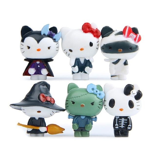 6pcs/lot Anime Cartoon Kawaii Mini Hello Kitty Halloween Figures ...