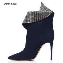 Темно-Синие ботильоны с острым носком на высоком каблуке-шпильке со стразами; Botas Mujer; Коктейльная и вечерняя обувь; женская обувь; большие размеры
