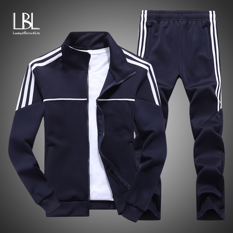 New Sportswear Men 2019 Autumn Set Mens Tracksuit Striped Zipper Sweatshirt + Sweatpants Men Casual Sporting Suits 2 Pieces Set