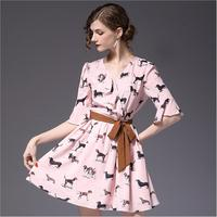 Women Mini Dress 2018 New Arrival Flare Sleeve Animal Printing Summer Chiffon Dress Offical Lady V