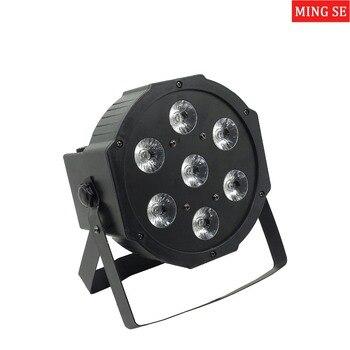 Ángulo de 25 grados lente grande 7x18W led Par luces RGBWA UV 6in1 plana par led dmx512 luces de discoteca escenario profesional dj equipo