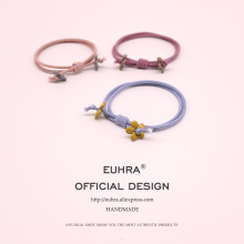 EUHRA 6 Colors Elastic Hair Bands Knotted Small Flower Floral Simple Women Girls Children Accessories Rubber Band
