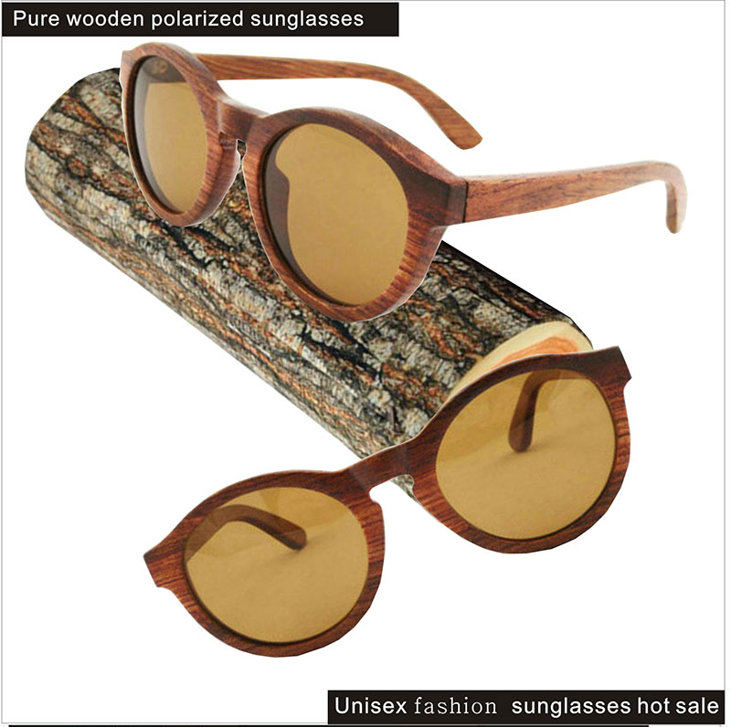 Custom handmade glasses made round red brown box wooden Polaroid sunglasses sunglasses male children