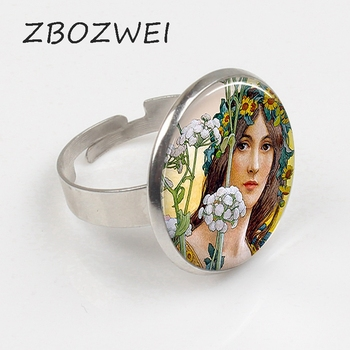 Anillo artístico de Hada de las flores ZBOZWEI 2018 de estilo Art Nouveau, anillo artístico para mujer de cuento de hadas, cabujón de cristal, joyería de moda, regalo de Navidad