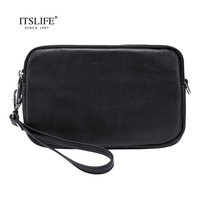 Itslife 2018 New Women Practical Genuine Leather Shoulder Bag Cowhide Clutch Wrist Let Three Zipper Handbag