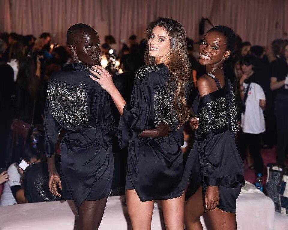 Closeout DealsSilk Robe Sleepwear Short Satin-Peignoirs Bride Black Plus-Size Femme for Women Dyeansee