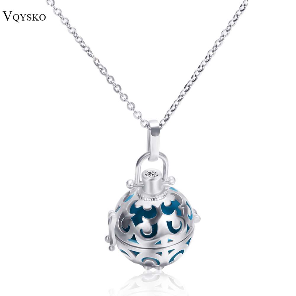 316L Stainless Stee Chain Cage Angel Ball Necklace 7 Colors Ball Metal Pregnancy Ball in Pendants Baby Chime Necklace