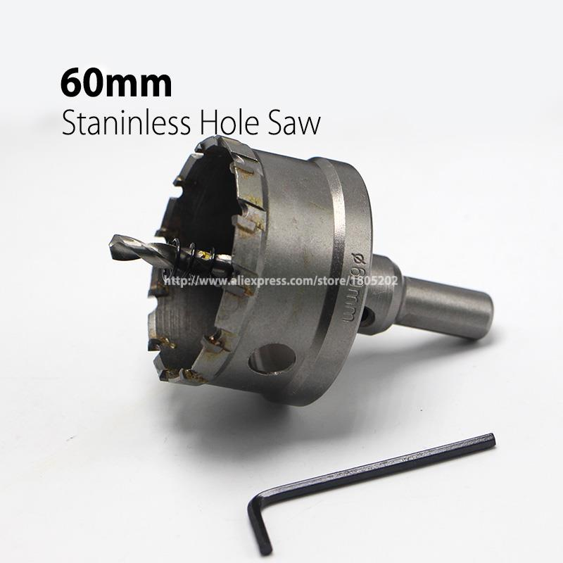 60mm 2.36 Core Drill Bit Hard Alloy Metal Hole Saw Drill Bit for Steel Metal Alloy Cutter Metal Working new 50mm wall hole saw drill bit set 200mm connecting rod with wrench mayitr for concrete cement stone