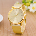 Luxury New Gold Geneva Web Alloy Quartz Dress Wristwatches Watch for Women Ladies Girls Hot Sale OP001