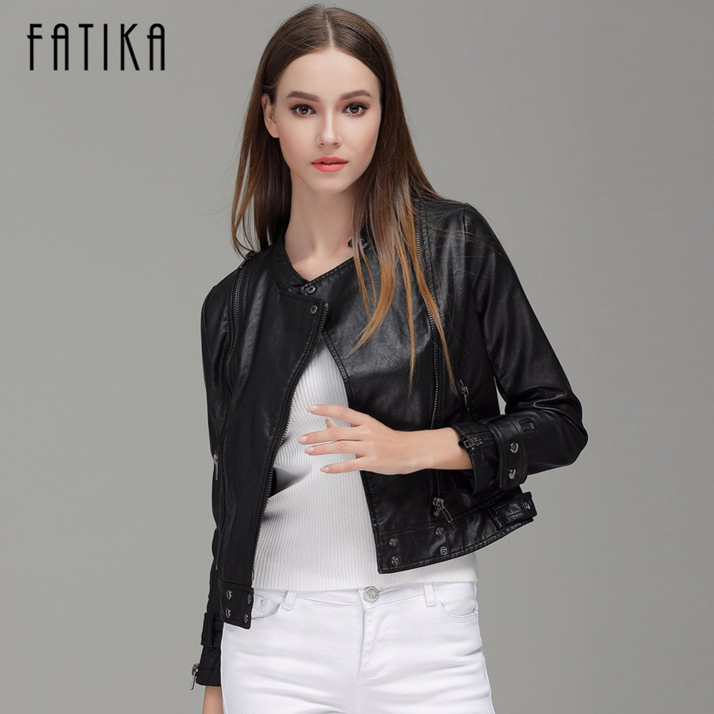 FATIKA 2017 New Fashion Autumn Winter Women Faux   Leather   Jackets Button Zippers Coat Female Flying Motorcycle Rivet Jacket Coats