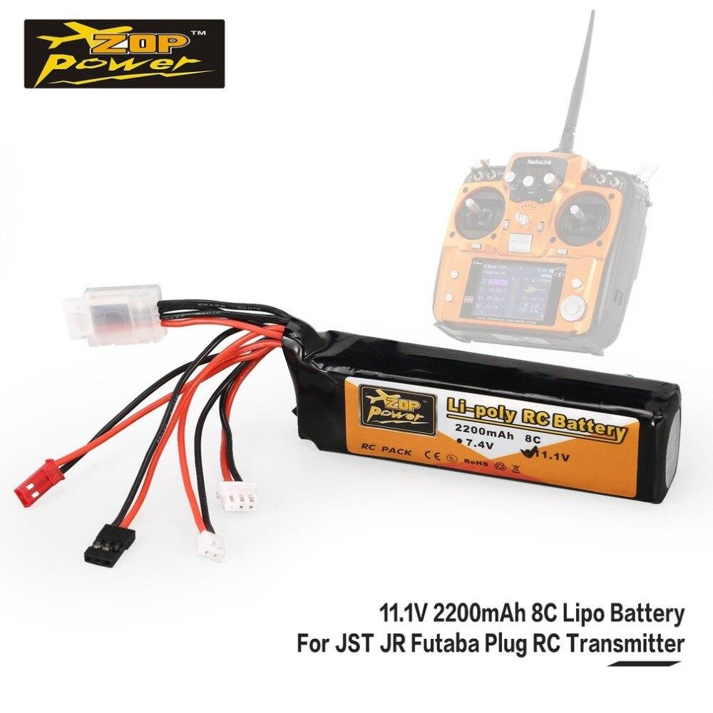 ZOP Power 11.1V 2200mAh 8C 3S 3S1P Lipo Battery JST JR Futaba Plug Rechargeable For RC Drone Helicopter Quadcopter Transmitter wsx s04 11 1v 2200ma lipo battery for futaba kds jr fs walkera