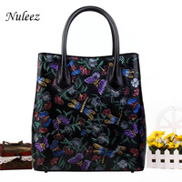 Nuleez genuine leather cowhide large women tote bag hand drawing art elegant ladies office bag 2018 new fashion luxry