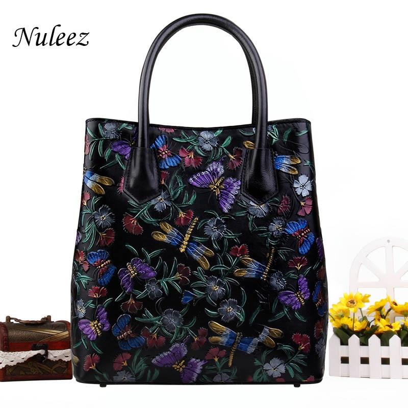 Nuleez genuine leather cowhide large women tote bag hand drawing art elegant ladies office bag 2018