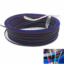 2m 5m 10M 20m 50m 4 Pin Extension RGB+Black Wire Connector Cable For  DC12V Strip light