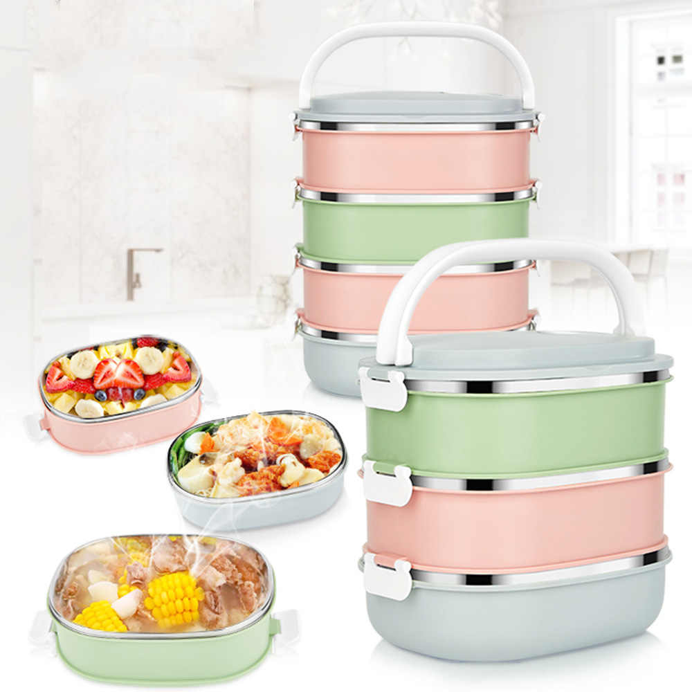 1-3 layer stainless steel food storage container school student children's portable insulated thermos Bento lunch box Japan