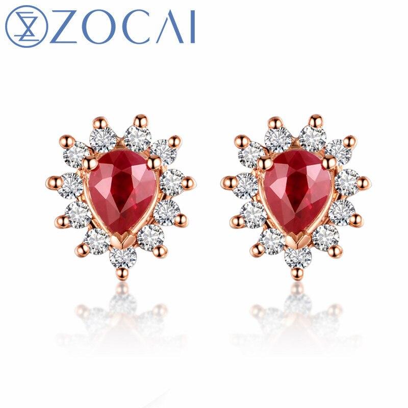 Серьги ZOCAI с сертификатом 18 К розовое золото 0.35ct рубин с бриллиантом 0.17ct обручальные серьги E00759 без таможни