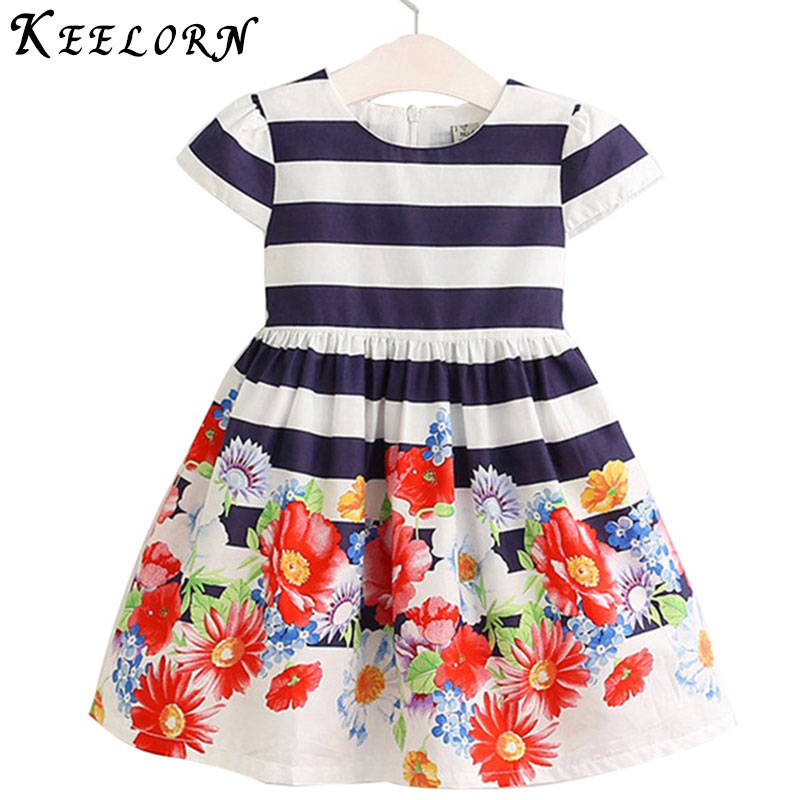 Keelorn Girls Dress 2017 European and American style Girls Clothes Short Sleeve Flowers Striped Pattern Princess Dress Kids keelorn girls dress 2017 autumn winter