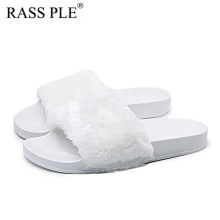9c3ef6b55dc5 RASS PLE Ladies Womens Flat Fur Fluffy Sliders-Slippers Comfy Sandals Flip  Flop Shoe Black