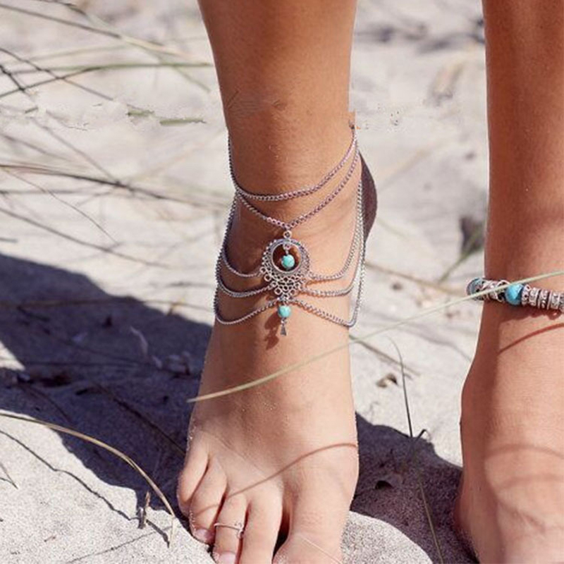 Boho Ethnic Women s Vintage Turquoise Beads Gold Silver Anklet Tassel Foot Chain Ankle Jewelry Anklets
