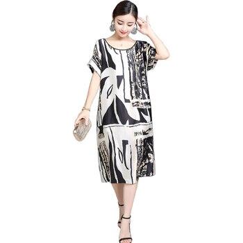 0a9d5d78abd 2019 летнее женское платье элегантный harajuku печать шелк женские платья с  коротким рукавом o-образным вырезом большой размер ретро дамы elbise jurken