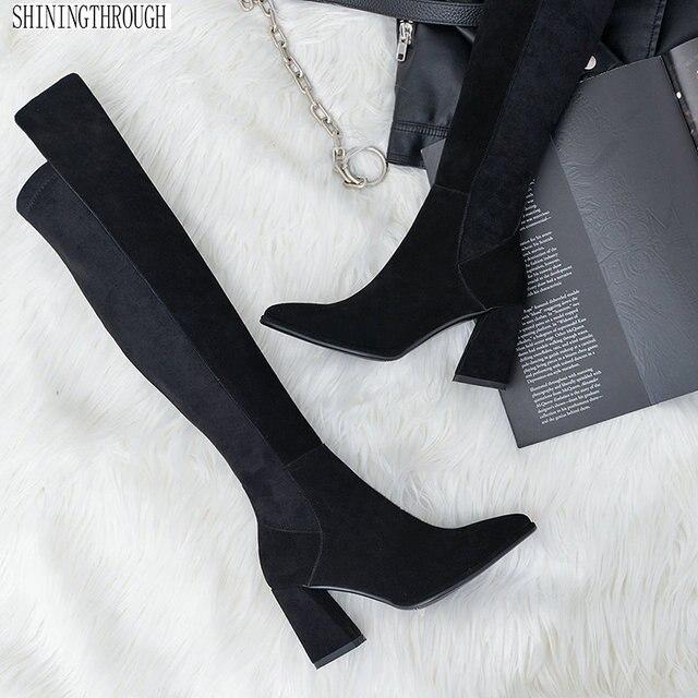 上でセクシーなブーツの女性のスエード革の厚さのハイヒールの女性のブーツ秋冬黒グレーパーティー靴女性