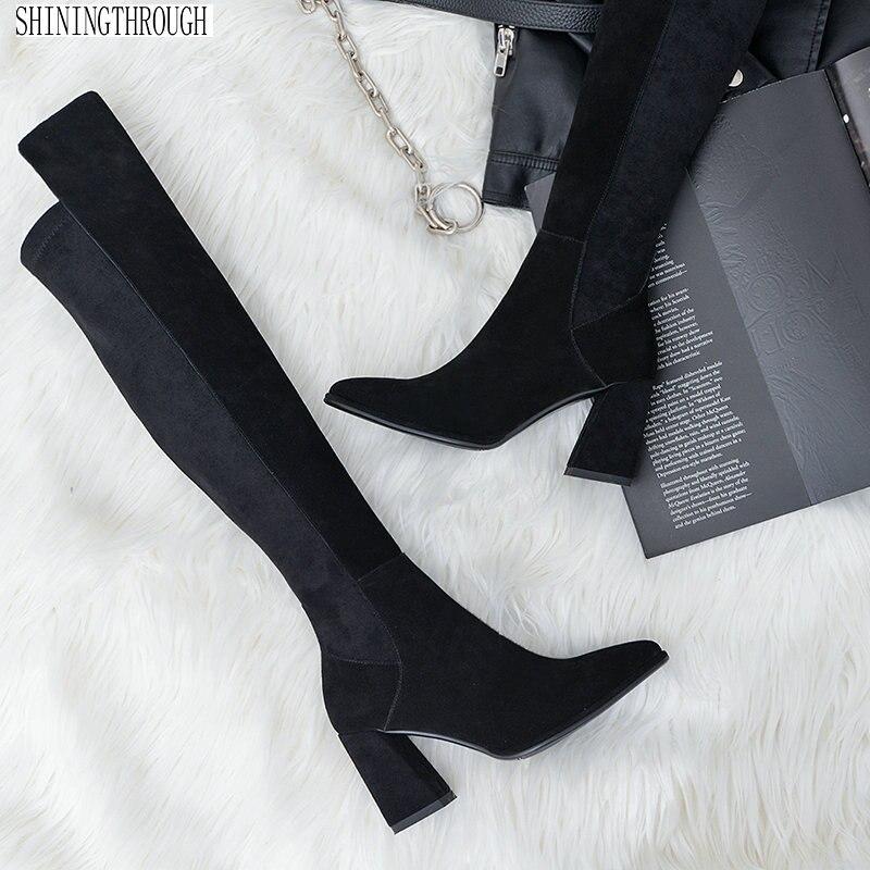 Sexy sur les bottes hautes femme daim en cuir épais talons hauts femmes bottes automne hiver noir gris chaussures de soirée femme
