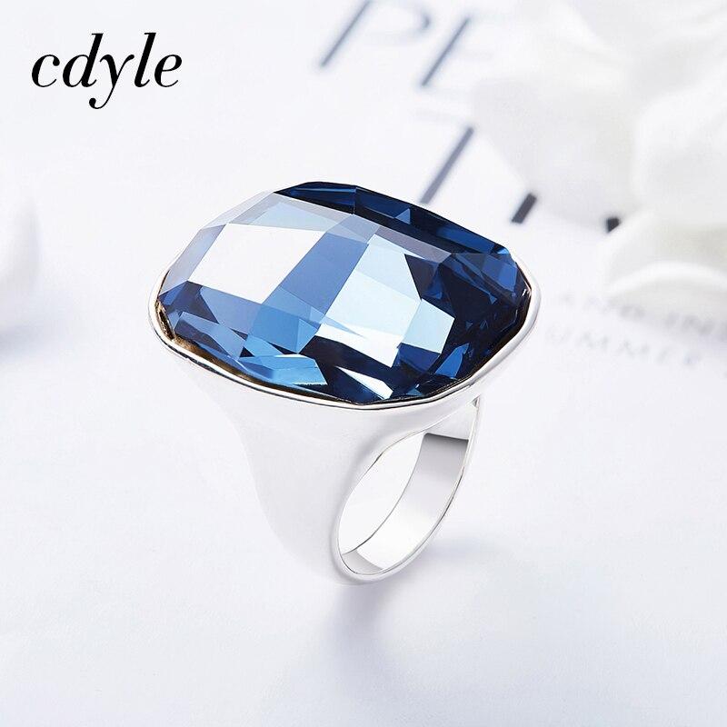 Cristaux Cdyle de Swarovski 925 argent Sterling gros anneaux de cristal autrichien pour les femmes bijoux de fête 3 couleurs mode nouveau