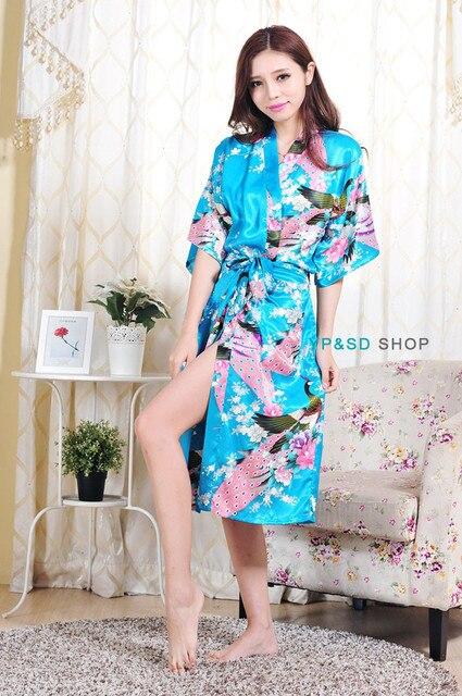 1cf6898682 Floral Sexy Women Silk Robe Lady Girl Pajamas Geisha robe Japanese kimono Housecoat  Nightgowns Loungewear Sleepwear Bath Robe