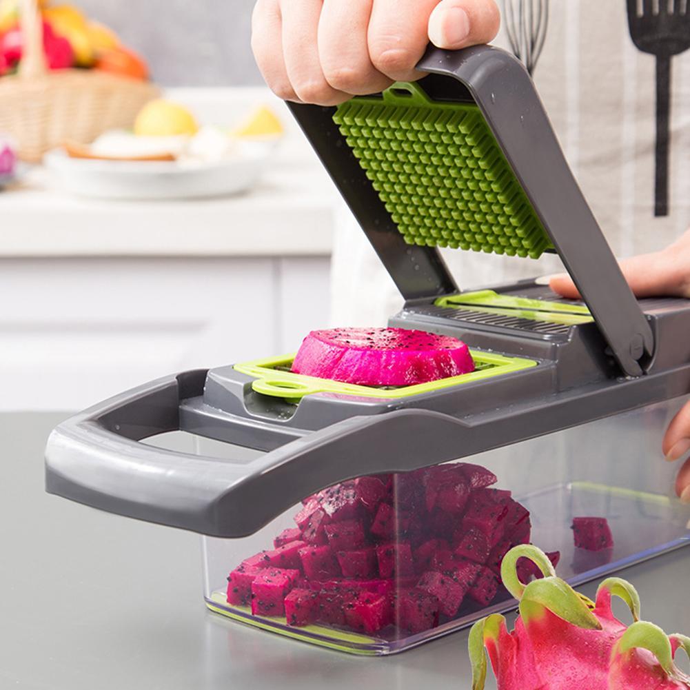 Multi-functional Vegetable Diced Set Diced Potato Fruit Shred Slicer Cutter Grater Household 7-in-1 Kitchen Gadgets Grater Tool